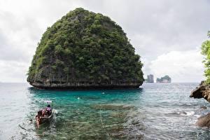 Fonds d'écran Île Bateau Thaïlande Phiphi Islands, Krabi Province Nature