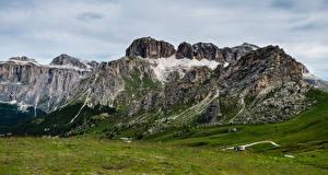 Fonds d'écran Italie Montagne Alpes Dolomites, Pordoi Pass Nature