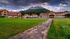 Fonds d'écran Italie Montagnes Bâtiment Alpes Hôtel Grand Hotel Toblach
