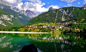 Images Italy Mountain Lake Alps Lake Molveno Nature