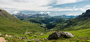 Bilder Italien Gebirge Landschaftsfotografie Alpen Wolke Ein Tal Arabba, Dolomites Natur