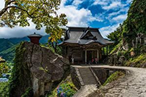 Bilder Japan Berg Tempel Felsen Tohoku Natur