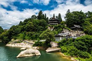 Bilder Japan Tempel Bäume Wolke Tohoku