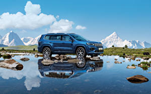 Bakgrundsbilder på skrivbordet Jeep Sidovy Metallisk Reflektion Grand Commander e, (K8), 2021 bil