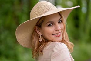 Image Blonde girl Hat Smile Staring Bokeh Kerstin Girls