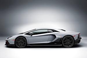 Фото Lamborghini Серые Сбоку Aventador LP 780-4 Ultimae, (LB834), 2021 Автомобили