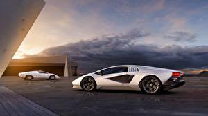 Papel de Parede Desktop Lamborghini Prata cor Metálico 2 Countach LPI 800-4, 2021 carro