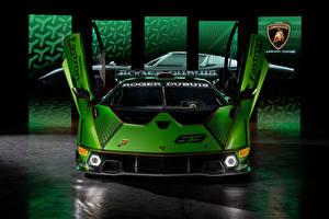 Tapety na pulpit Lamborghini Widok z przodu Zielony Otwarte drzwi Essenza SCV12, 2020 Samochody