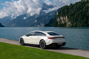Tapety na pulpit Mercedes-Benz Biały Metaliczna EQS 580 4MATIC AMG Line, (Worldwide), (V297), 2021 Samochody