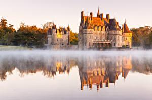 Bureaubladachtergronden Ochtend Burcht Monument Frankrijk Mist Reflectie Azay-le-Rideau Castle, Endr river Steden