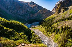 Bilder Berg Parks Bach Felsen Ala Archa National Park, Kyrgyzstan Natur