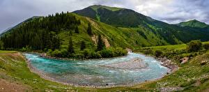Sfondi desktop Montagne Fiume Paesaggio Panoramica Kyrgyzstan, Chuy Province Natura