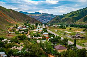 Bilder Berg Straße Haus Osh Region, Kyrgyzstan Natur