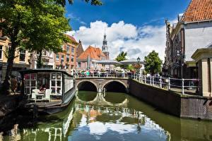 Desktop wallpapers Netherlands Canal Trees Alkmaar, North Holland, Nordholland Canal Cities