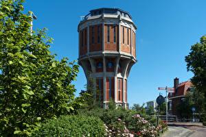 Desktop wallpapers Netherlands Houses Tower Leiden Cities