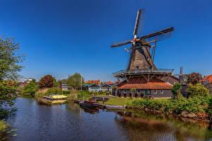 Desktop wallpapers Netherlands Houses Windmills Canal Meppel Cities