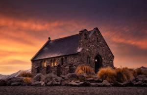 Desktop hintergrundbilder Neuseeland Abend Kirche Alt Steinernen Good Shepherd Natur