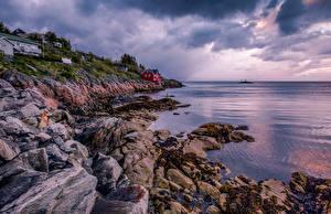 Sfondi desktop Norvegia La costa Isole Lofoten Pietre Natura