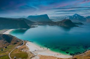 Sfondi desktop Norvegia Litorale Montagna Isole Lofoten Vista dall'alto Natura