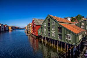 Wallpapers Norway Houses Rivers Bakklandet, Trondheim Cities