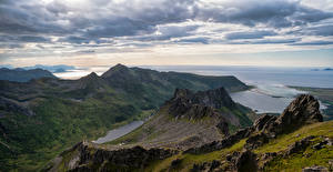 Hintergrundbilder Norwegen Lofoten Berg Küste Wolke Laukvik Natur