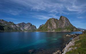Bilder Norwegen Lofoten Gebirge Fjord