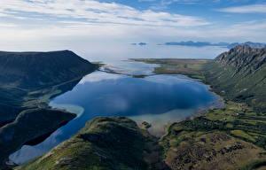 Bureaubladachtergronden Noorwegen Lofoten Berg Fjord Natuur