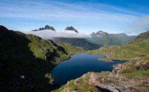 Photo Norway Lofoten Mountain Lake  Nature