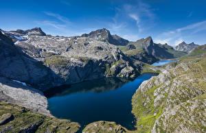 Image Norway Lofoten Mountain Lake Reine Nature