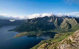 Papel de Parede Desktop Noruega Lofoten Montanha Nuvem Liland Naturaleza