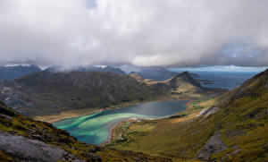 Papel de Parede Desktop Noruega Lofoten Montanhas Nuvem Fiorde Skjelfjorden Naturaleza