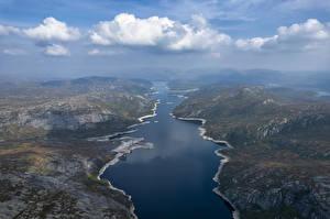 Papel de Parede Desktop Noruega Montanhas Lago Nuvem De acima Valevatn Naturaleza