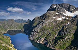 Fotos Norwegen Berg Lofoten See Trolltindan Natur