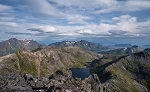 Papel de Parede Desktop Noruega Montanhas Lofoten Nuvem Fiorde Laukvik Naturaleza