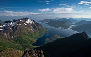 Hintergrundbilder Norwegen Berg Lofoten Fjord Laupstad