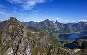 Hintergrundbilder Norwegen Gebirge Lofoten Fjord Laupstad