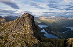 Papel de Parede Desktop Noruega Montanha Lofoten Nuvem Myrland Naturaleza
