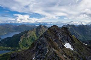 Papel de Parede Desktop Noruega Montanhas Lofoten Parques Nuvem  Naturaleza