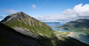 Wallpapers Norway Mountains Lofoten Clouds Fjord Sandsfjellet