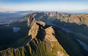 Tapety Norwegia Góry Lofoty Fiord Trolldalstinden Natura zdjęcia zdjęcie