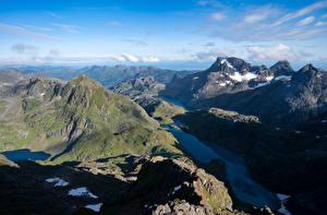 Papel de Parede Desktop Noruega Montanha Lofoten Fiorde Trollfjord Naturaleza