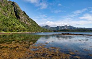 Papel de Parede Desktop Noruega Montanha Fiorde Troms, Grunnfjorden Naturaleza