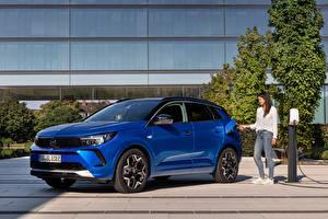 Hintergrundbilder Opel Blau Metallisch Hybrid Autos Grandland Hybrid4, (Worldwide), 2021 auto