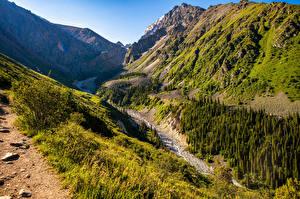Hintergrundbilder Parks Gebirge Bäume Bach Ala Archa National Park, Kyrgyzstan Natur