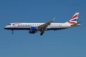 Bakgrundsbilder på skrivbordet Flygplan Passagerarplan Sidovy Embraer ERJ-190, BA CityFlyer