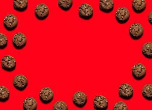 Wallpaper Baking Cookies Red background Template greeting card