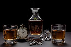 Bureaubladachtergronden Zakhorloge Whisky Waterglas Fles spijs
