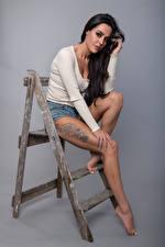 壁紙,姿勢,坐,腿,刺青,凝视,黑发,Rebecca,女孩,