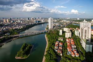 Fotos Fluss Brücken Vietnam Haus Hanoi, Hong River Städte