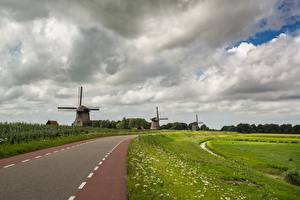 Wallpapers Roads Grass Mill Clouds Nature pictures images